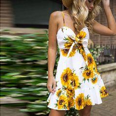 65da2b5d73ba Sunflower Bowtie Mini Dress. Sunflower DressSunflower PrintWhite SunflowerSlim  Fit DressesSexy ...