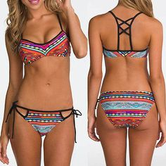 6df8206426 Pestrobarevné dvoudílné plavky s výrazným vzorem a černým lemováním Bikini