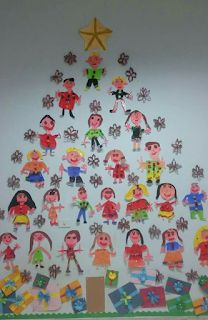 Christmas tree - what a lovely idea! A tree full of kids' self portraits :) Christmas Crafts For Kids To Make, Childrens Christmas, Preschool Christmas, Christmas Activities, Xmas Crafts, Christmas Projects, Winter Christmas, Kids Christmas, Handmade Christmas