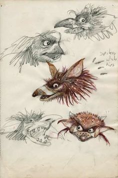 Brian Froud's concept art and sketches for the 1986 movie, Labyrinth.