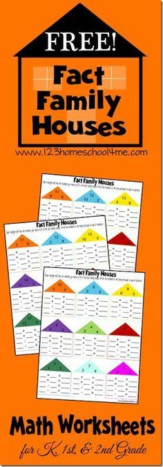 Grab these FREE Math Fact Family Worksheets from 123 Homeschool 4 Me. Help kids practice addition and subtraction with these free printable Fact Family Math Worksheets for Kids. There are 6 pages filled with various number groupings. Kids Math Worksheets, Math Resources, Subtraction Worksheets, Math Strategies, Fact Family Worksheet, Fact Families, Second Grade Math, Grade 3, Math Addition