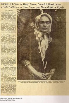 Headlines of Frida's death from the Excelsor Journal, Wednesday July 14, 1954 (Via Archivio Isolda P. Kahlo, Mexico)