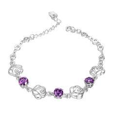 Accessories, Rose Gold Flower Lavender Crystal Bracelet, Jewelry,16.99