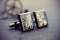 Steampunk - Watch Part Cufflinks Steampunk Cuff Links Cyberpunk Upcycled Recycled Antique Clock Steam Punk Gears Cogs Eco Friendly Resin Mens Jewelry by TheCreakingDoor