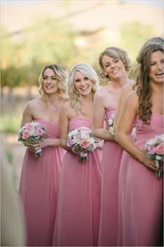 Chiffon Bridesmaid Dress, Pink Bridesmaid Dress, Custom Made Bridesmaid Dress, Bridesmaid Dress, Simple Bridesmaid Dress Bridesmaid Dresses 2018 Pink Bridesmaid Dresses Long, Dresses Short, Wedding Bridesmaids, Bridesmaid Hair, Mademoiselle, Wedding Party Dresses, Dream Wedding, Fall Wedding, Glamour