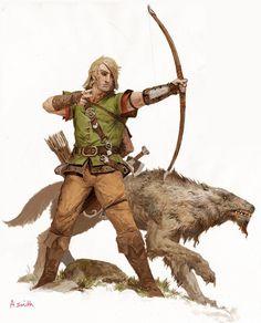 m Ranger Leather Armor Longbow Sword lwlvl village hunter Wolf hills forest Adrian Smith Fantasy Warrior, Fantasy Rpg, Medieval Fantasy, Dark Fantasy, Fantasy Character Design, Character Concept, Character Art, Dnd Characters, Fantasy Characters