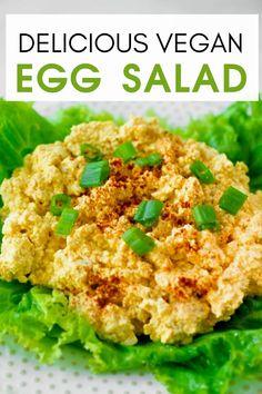 How To Make Delicious Vegan Egg Salad Recipe I easy eggless salad recipe I how to make vegan egg salad I delicious vegan sandwiches I tips for making vegan egg salad I realistic vegan egg salad I best vegan sandwich recipes I gluten free vegan egg salad I dairy free egg salad I best lunch recipes for vegans I easy and quick vegan meals I sandwiches for vegans I healthy egg salad #eggsalad #veganrecipes Best Lunch Recipes, Vegan Dinner Recipes, Vegan Breakfast Recipes, Veg Recipes, Delicious Vegan Recipes, Vegan Meals, Vegan Food, Salad Recipes, Vegetarian Recipes