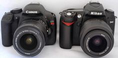 Side by side comparison of a Canon Rebel T2i to a Nikon D90