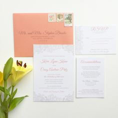 Lace Wedding Invitation  Coral Wedding by ohmydesignsbySteph