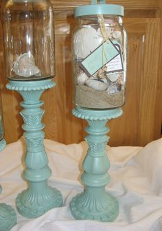 Display Memory Jars on upcycled candle holders @Melissa Guerlain