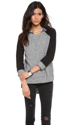 Madewell Tweed Pullover with Boiled Wool Sleeves | $80 | gifts for the fashionista | womens sweater | womens style | womens fashion | wantering http://www.wantering.com/womens-clothing-item/tweed-pullover-with-boiled-wool-sleeves/afxYH/