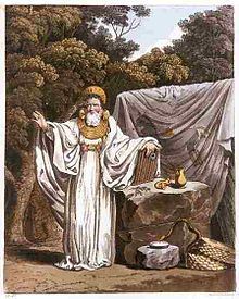 """Imaginative illustration of 'An Arch Druid in His Judicial Habit', from """"The Costume of the Original Inhabitants of the British Islands"""" by S.R. Meyrick and C.H. Smith (1815), the gold gorget copying Irish Bronze Age examples"""
