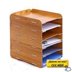 gossipboy 6 Tier desmontable de madera grano diseño archivador A4 carta bandeja de almacenamiento Caja de armario de escritorio para oficina organizador estante #armario #oficina