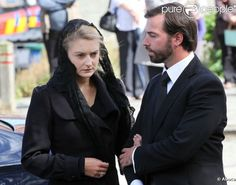 Countess Stéphanie de Lannoy supported by her fiancé Prince Guillaume, Hereditary Grand Duke of Luxembourg at the funeral of the Countess Alix de Lannoy (Stéphanie's mother), who passed on August 26, 2012 at age of 70. The funeral was held Friday, August 31 at Frasnes-lez-Anvaing, in the province of Hainaut. The Grand Ducal Family of Luxembourg and the Belgian royal family were represented.