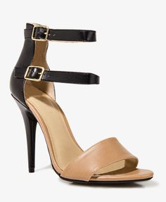 Colorblocked Faux Leather Sandals - Forever21 #heels #shoes ankle strap