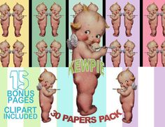Kewpie Angel Image, Kewpie Doll Cutout, Kewpie Digital Paper Pack - 37 Kewpie Doll Angel Pre-made Papers - Size 12x12 - Printable Paper- Digital Scrapbooking - 2 PNG CLIPARTs INCLUDED -Instant Download, Kewpie Doll Angel Cutout, Kewpie Doll Template,Kewpie Cutout, Kewpie Template  Set Includes: 2 PNG file with Transparent Background (the picture you see in the first frame but without the sample papers background) and 45 JPG files on patterned background as pictured above. 37 Kewpie Doll…