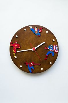 SALE 40% Superheroes wallclock for kids, Captain America Spiderman Superman…