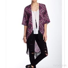 "New Romeo & Juliet Couture Fringe Kimono Fuschia Available in sizes small & medium. New with tags. Color is black & fuschia. Open front, short sleeves, all over print, fringed hem. Approx 27"" shortest length, 40"" longest length. Approx 7"" fringe. Made in USA. Fits true to size. Priced at my lowest. Offers not accepted. Bundles encouraged. Romeo & Juliet Couture Sweaters"
