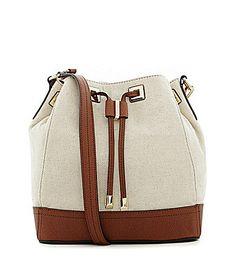 Calvin Klein Mary Canvas Colorblocked Drawstring Shoulder Bag #Dillards