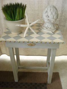 Vintage Hand painted Harlequin Accent Side Table.
