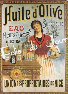"Vintage French Posters | Antique French Advertising Poster for Oil Woman Girl - 8"" x 12"""