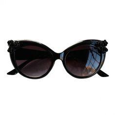 Baroque Black Rose Cat Eye Sunglasses