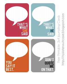 quotable cards -- free from My Sister's Suitcase http://www.sisterssuitcaseblog.com/2012/03/project-life-free-quoted-journaling.html