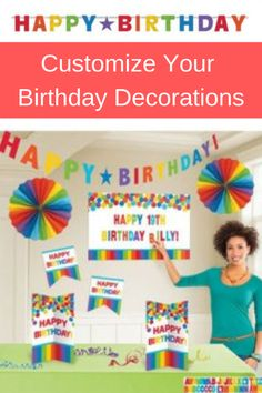 Personalise Happy Birthday Primary Rainbow Decoration Kit Contains 1 Happy Birthday Garland, 2 Multi Coloured Fans, 2 Cutouts, 1 Cutout Sign, 2 Centrepieces And 3 Sticker Sheets. Rainbow Decorations, Birthday Decorations, Rainbow Birthday, It's Your Birthday, Birthday Month Signs, Happy 19th Birthday, Artificial Garland, Birthday Garland, Balloons And More