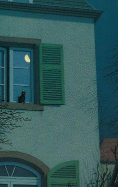 Quint Buchholz (German, b. Stolberg, Germany) -On The Windowsill At Night (Nachts vor dem Fenster), 1995 Mixed Media Aesthetic Art, Aesthetic Pictures, Aesthetic Anime, Gravure Illustration, Japon Illustration, Pastel Wallpaper, Scenery Wallpaper, Aesthetic Backgrounds, Aesthetic Wallpapers
