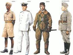 World War II Uniforms -Japan - 1942 Sep., Malaysia, Senior NCO, Indian Nationalist Army Japan - 1943 Feb., Tokyo, Lieutenant, 5th Fleet Japan - 1941 Pilot Zero japan. Netherlands - 1940 Apr., Holland, Lieutenant-Colonel, Cyclist Regiment