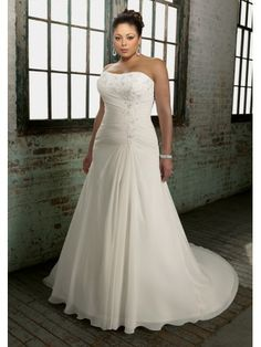 Chiffon Strapless Softly Curved Neckline Embroidered Bodice A-line Wedding Dress