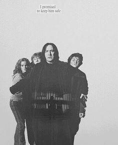 Severus Snape protegendo Harry, Hermione e Ron 💛💙💜 Harry James Potter, Harry Potter World, Harry Potter Poster, Images Harry Potter, Harry Potter Universal, Harry Potter Characters, Harry Potter Memes, Harry Potter Triste, Alan Rickman