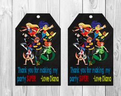 DC Superhero Girls Birthday Party Favor Tags Wonder Woman