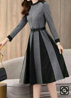 Color Block Ruffles Round Neckline Midi X-line, Dress - Dark Gray / XXL in 2020 Formal Dresses With Sleeves, Modest Dresses, Stylish Dresses, Elegant Dresses, Vintage Dresses, Casual Dresses, Maxi Dresses, Pretty Outfits, Pretty Dresses