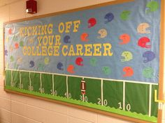 Kicking Off Your College Career Bulletin Board Sports Bulletin Boards, Counselor Bulletin Boards, Office Bulletin Boards, Summer Bulletin Boards, School Counselor Office, Middle School Counseling, High School Counseling, Elementary Counseling, College Classes