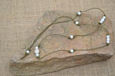 Freshwater Pearls Long Necklace Leather Pearl Necklace Boho Chic Jewelry Beach Necklace on Etsy, $53.00