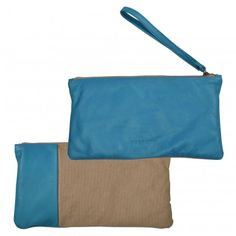 LEATHER CANVAS CLUTCH