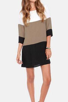 Simple Scoop Neck 3/4 Sleeve Color Block Chiffon Women's Dress