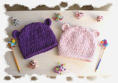 Little sisters hand crochet beanies with bear by sweetlittlebugs, €24.00