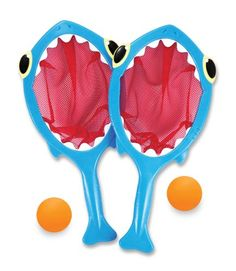 Your child will love playtime in the pool with the Melissa & Doug Spark Shark Toss & Catch. Whimsically designed with bright colors and toothy personality, this well-made toss-and-catch set encourages hand/eye coordination and outdoor fun.
