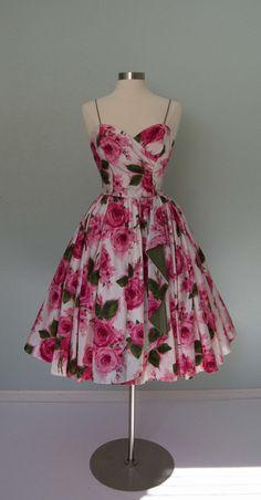 1950 rose print vintage dress - Etsy listing at https://www.etsy.com/listing/225343284/r-e-s-e-r-v-e-d-hold-tabak-label