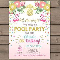 Resultado de imagen de invitacion cumpleaños para 9 años con tematica de piscina y en español