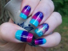 """30 Day Challenge - """"Day"""" 10 Gradient.    Did a sponge gradient. Revlon Oh My Magenta, WnW I Need a Re-fresh Mint and Simple Pleasures Purple with loose bar glitter in green, pink and purple on ring finger"""