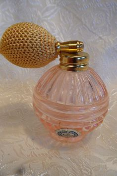 "Vintage Pink Glass ""Irice"" Perfume Atomizer Bottle"