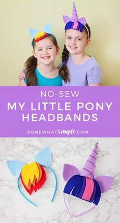 My Little Pony Headbands - No Sew! - Somewhat Simple - No sew my little pony headbands - My Little Pony Craft, Cumple My Little Pony, My Little Pony Dress, My Little Pony Costume, Diy Headband, Headbands, Crafts For Girls, Fun Crafts, Diy Spring