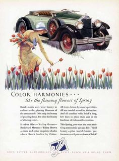 BUICK Convertible Car Auto Ad - 1928 - Lady Picking Tulips