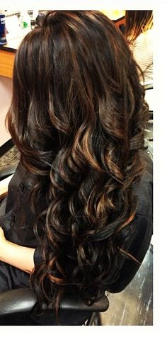 Dark hair brown highlights you can achieved this with Hair Extensions www.hairandwigs.com