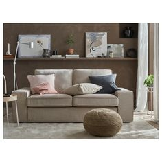KIVIK Hillared beige, Two-seat sofa. Cuddle up in the soft comfort of KIVIK sofa. Loveseat Covers, Sectional Sofa, Couch, Living Room Sofa, Home Living Room, Ikea Kivik, Zen Interiors, Beige Sofa, Loveseats