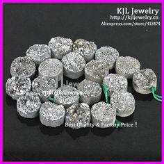 Natural ásperas de quartzo prata Drusy pedra Raw cristal Beads U$ 23,40