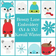 Kawaii Winter 4X4 & 5X7 Set: Breezy Lane Embroidery